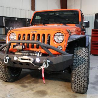 Jeep JK Front Winch Bumper W/LEDs Full Width 07-17 Wranger JK Black Texured Powercoated Fishbone Offroad