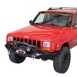 Cherokee XJ Front Winch Bumper W/Grille Guard Bullhead Steel Black Textured Powdercoat Fishbone Offroad