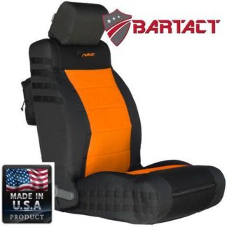 Jeep JK Seat Covers Front 07-10 Wrangler JK/JKU Tactical Series SRS Air Bag Compliant Black/Orange Bartact