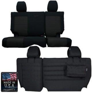 Jeep JK Seat Covers Rear Split Bench 13-17 Wrangler JK 4 Door Tactical Series Graphite/Graphite Bartact