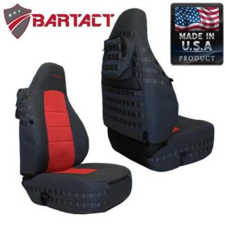 Jeep TJ Seat Covers Front 97-02 Wrangler TJ Tactical Series Black/Red Bartact