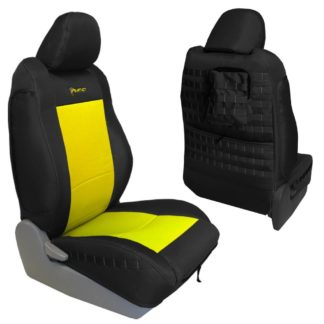 Toyota Tacoma Seat Covers 09-15 Tacoma TRD Front Graphite/Yellow Tactical Series Pair Bartact