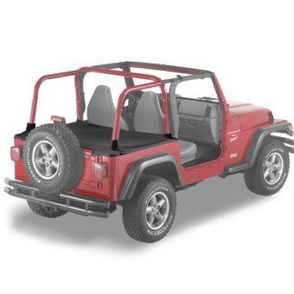 Jeep JK Duster Deck Cover w/Supertop Bow Folded Down 07-17 Jeep JK Wrangler Black Denim Bestop